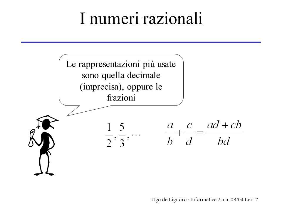 Ugo de'Liguoro - Informatica 2 a.a. 03/04 Lez. 7 I numeri razionali Le rappresentazioni più usate sono quella decimale (imprecisa), oppure le frazioni