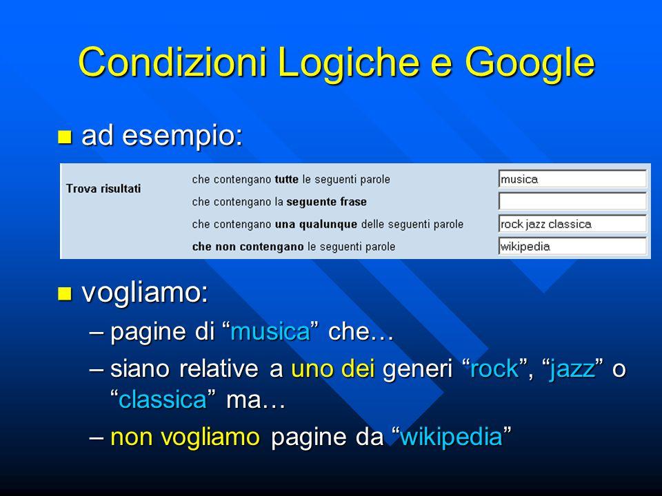 Condizioni Logiche e Google ad esempio: ad esempio: vogliamo: vogliamo: –pagine di musica che… –siano relative a uno dei generi rock , jazz o classica ma… –non vogliamo pagine da wikipedia