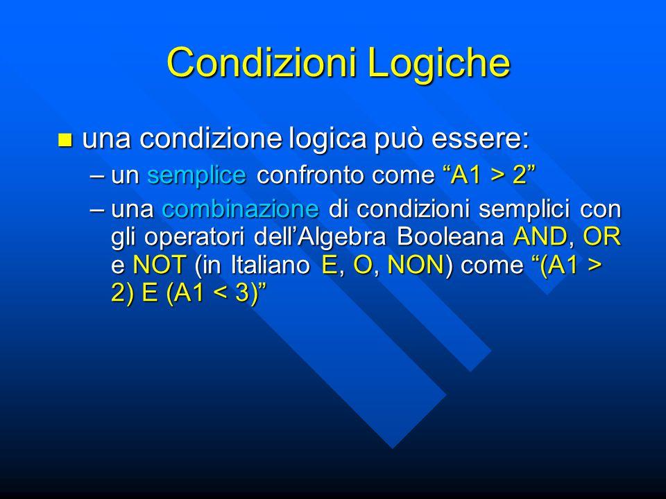 una condizione logica può essere: una condizione logica può essere: –un semplice confronto come A1 > 2 –una combinazione di condizioni semplici con gli operatori dell'Algebra Booleana AND, OR e NOT (in Italiano E, O, NON) come (A1 > 2) E (A1 2) E (A1 < 3) Condizioni Logiche