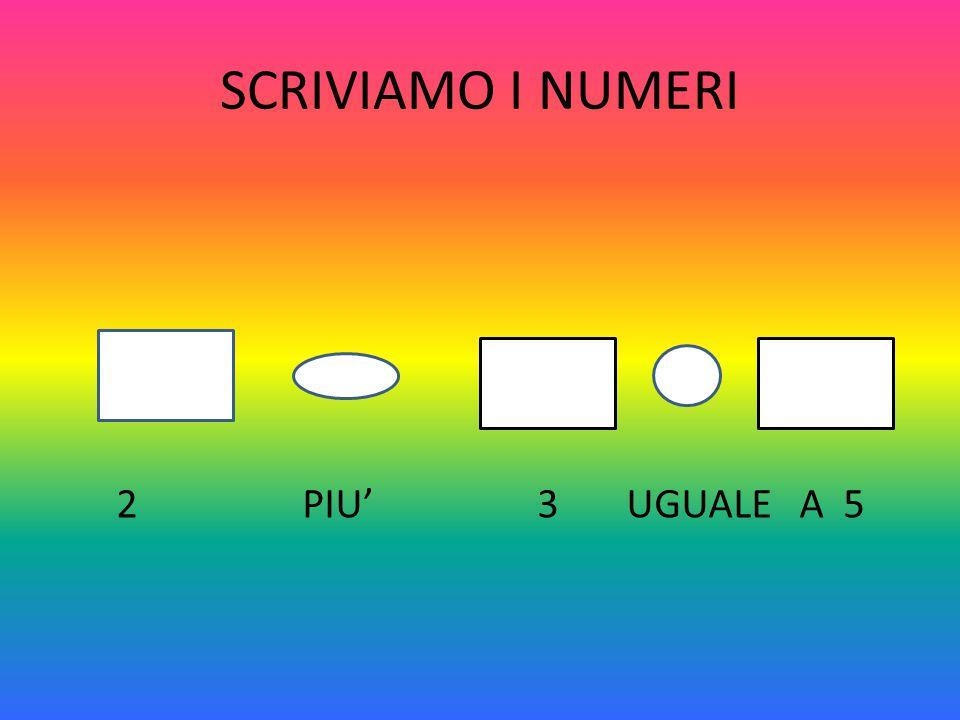 SCRIVIAMO I NUMERI 2 PIU' 3 UGUALE A 5