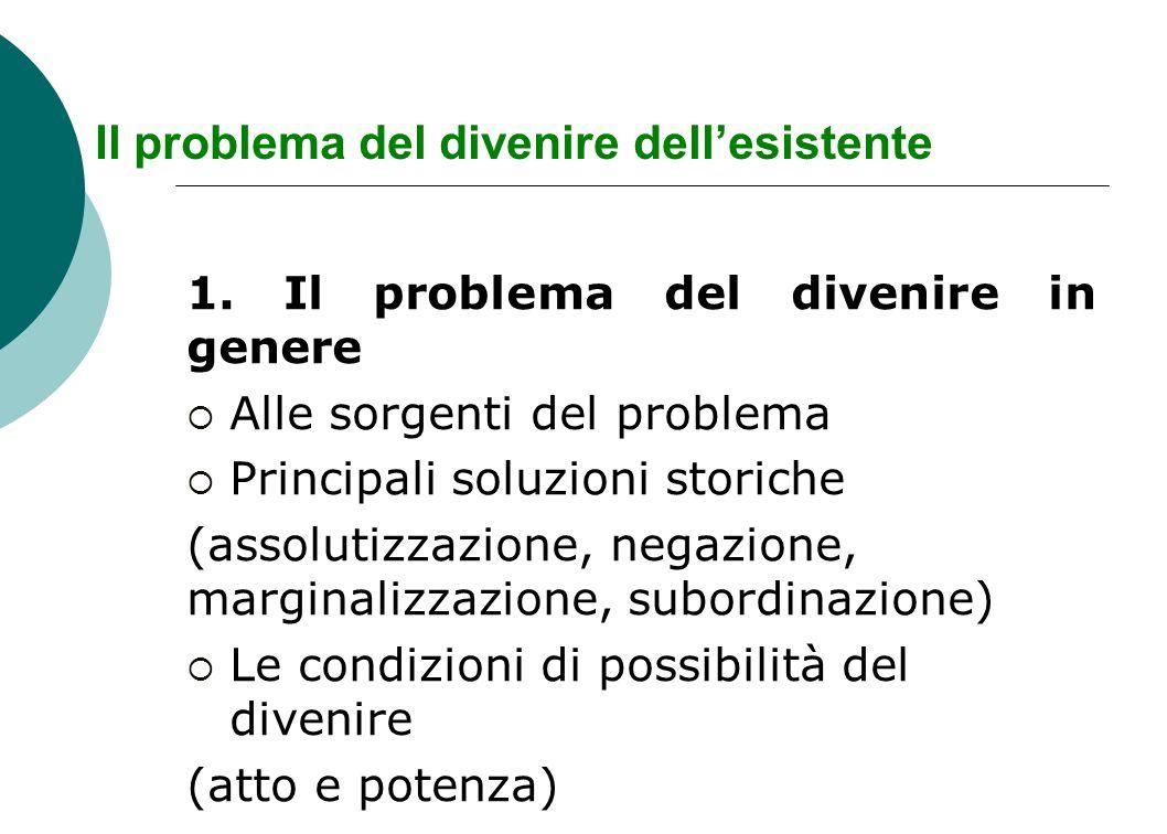 Il problema del divenire dell'esistente 1.