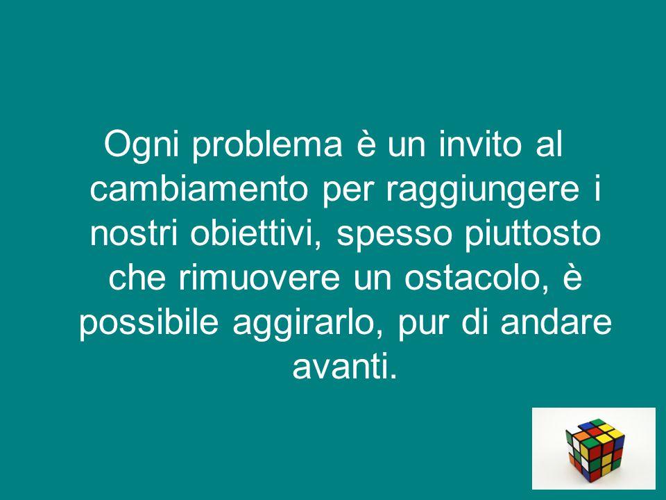 Ogni problema è un invito al cambiamento per raggiungere i nostri obiettivi, spesso piuttosto che rimuovere un ostacolo, è possibile aggirarlo, pur di