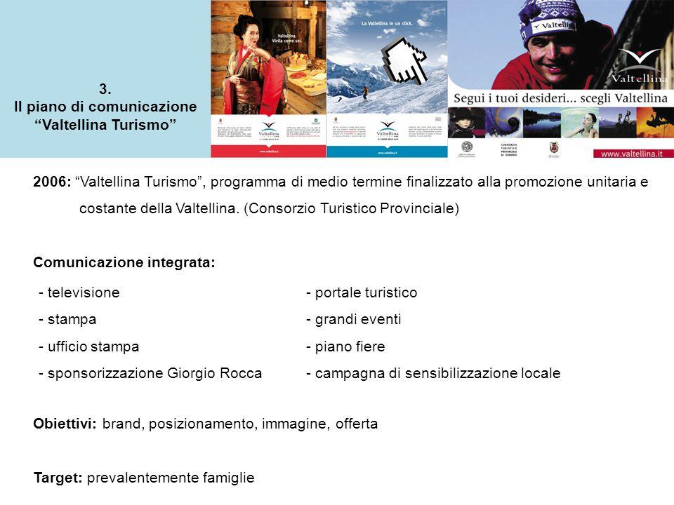 """3. Il piano di comunicazione """"Valtellina Turismo"""" 2006: """"Valtellina Turismo"""", programma di medio termine finalizzato alla promozione unitaria e costan"""