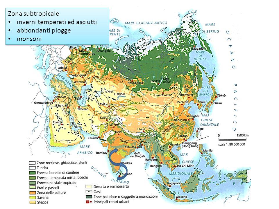 Zona subtropicale inverni temperati ed asciutti abbondanti piogge monsoni Zona subtropicale inverni temperati ed asciutti abbondanti piogge monsoni