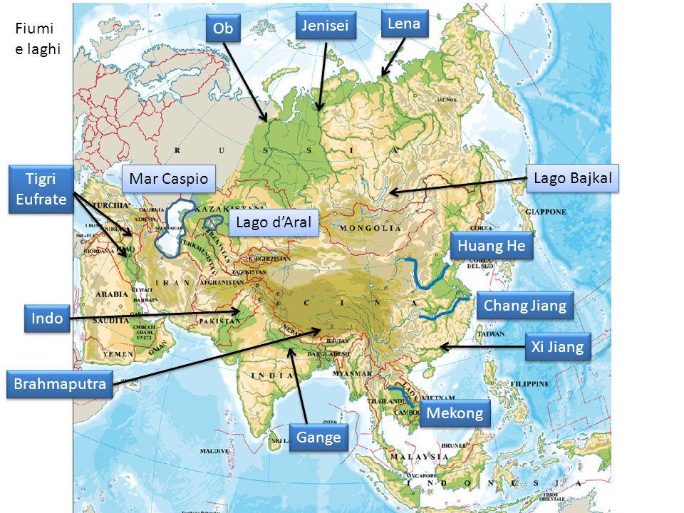 Chang Jiang Huang He Mekong Indo Mar Caspio Lago d'Aral Fiumi e laghi Ob Jenisei Lena Xi Jiang Gange Brahmaputra Tigri Eufrate Tigri Eufrate Lago Bajkal
