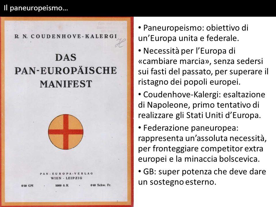 Il paneuropeismo… Paneuropeismo: obiettivo di un'Europa unita e federale.