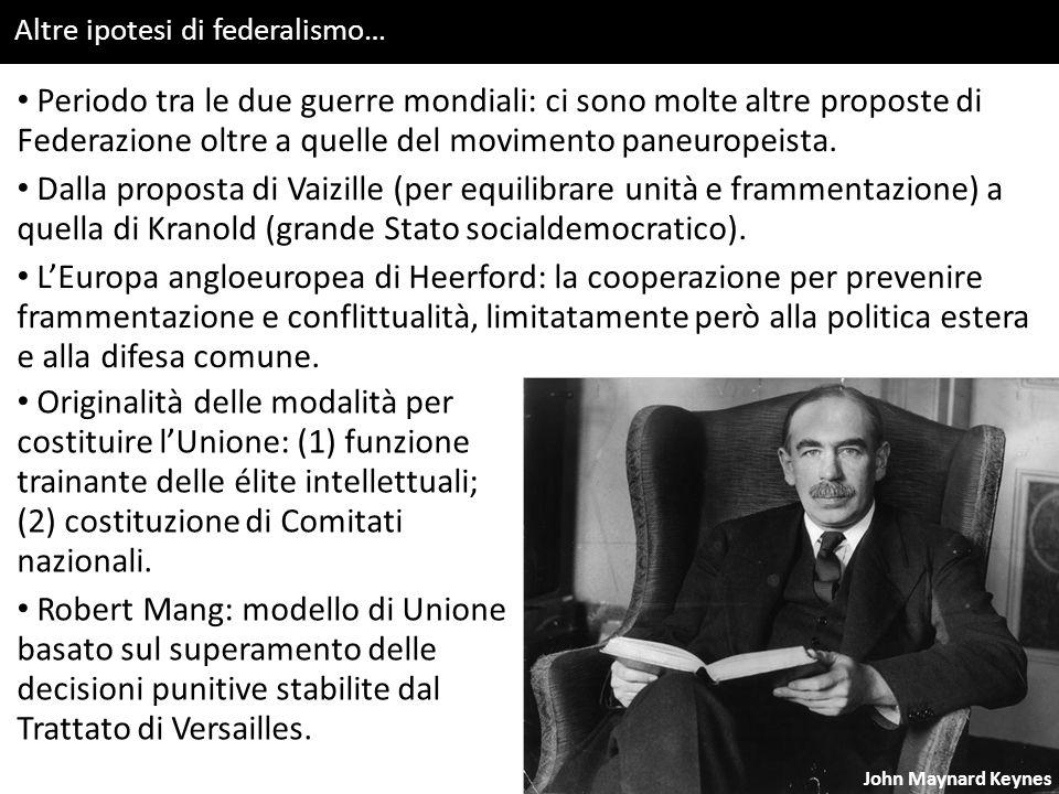 Altre ipotesi di federalismo… John Maynard Keynes Periodo tra le due guerre mondiali: ci sono molte altre proposte di Federazione oltre a quelle del movimento paneuropeista.