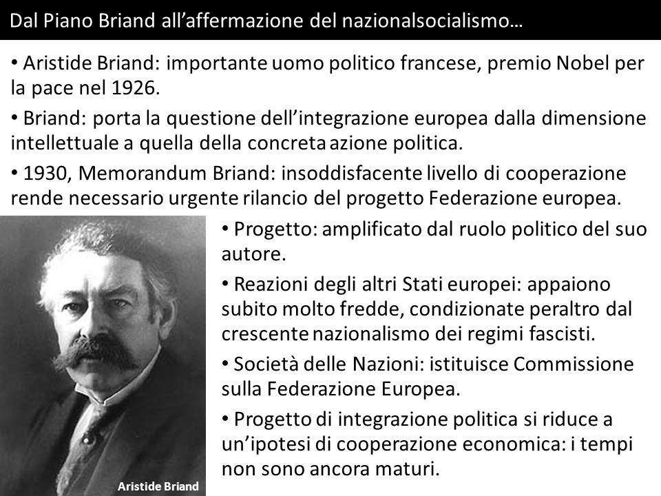 Dal Piano Briand all'affermazione del nazionalsocialismo … Aristide Briand Aristide Briand: importante uomo politico francese, premio Nobel per la pace nel 1926.
