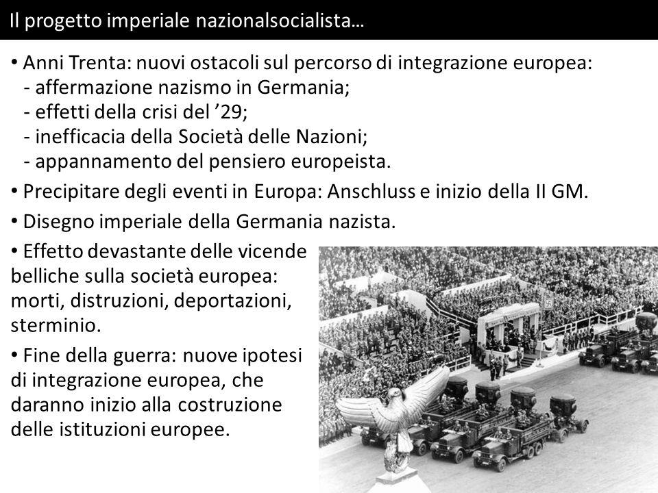 Il progetto imperiale nazionalsocialista … Anni Trenta: nuovi ostacoli sul percorso di integrazione europea: - affermazione nazismo in Germania; - effetti della crisi del '29; - inefficacia della Società delle Nazioni; - appannamento del pensiero europeista.