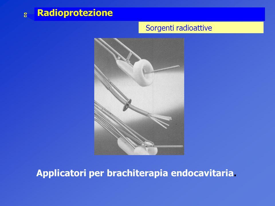 8 Radioprotezione Sorgenti radioattive Applicatori per brachiterapia endocavitaria.