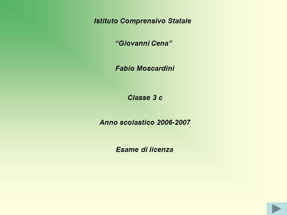 Istituto Comprensivo Statale Giovanni Cena Fabio Moscardini Classe 3 c Anno scolastico 2006-2007 Esame di licenza