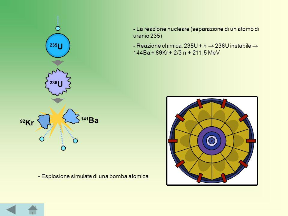 - La reazione nucleare (separazione di un atomo di uranio 235) - Reazione chimica: 235U + n → 236U instabile → 144Ba + 89Kr + 2/3 n + 211,5 MeV - Esplosione simulata di una bomba atomica