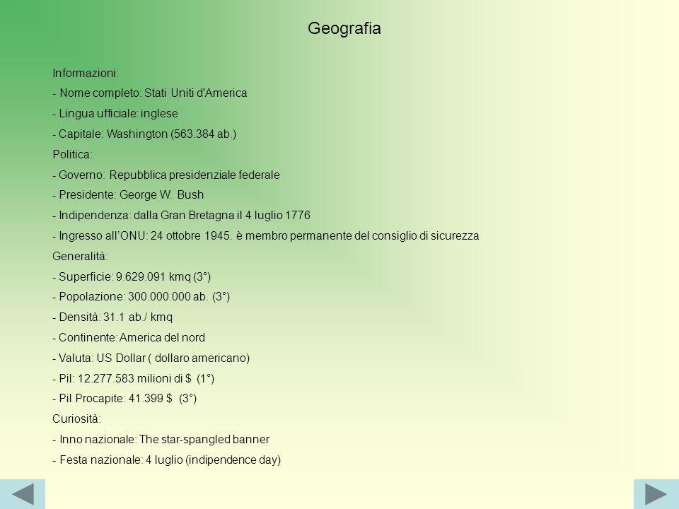Geografia Informazioni: - Nome completo: Stati Uniti d America - Lingua ufficiale: inglese - Capitale: Washington (563.384 ab.) Politica: - Governo: Repubblica presidenziale federale - Presidente: George W.