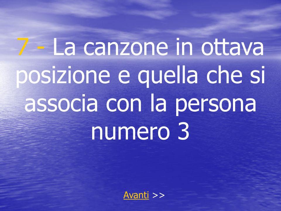 7 - La canzone in ottava posizione e quella che si associa con la persona numero 3 AvantiAvanti >>