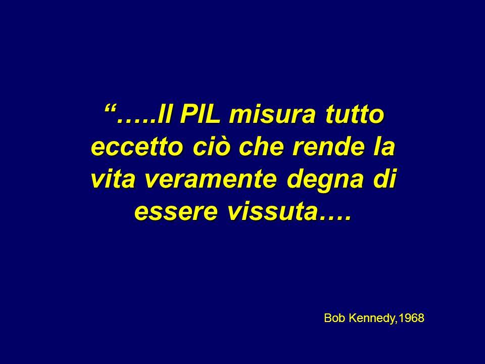 """""""…..Il PIL misura tutto eccetto ciò che rende la vita veramente degna di essere vissuta…. Bob Kennedy,1968"""