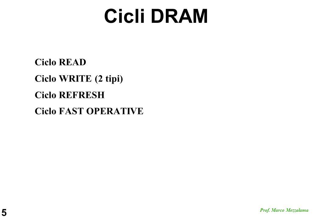 5 Prof. Marco Mezzalama Cicli DRAM Ciclo READ Ciclo WRITE (2 tipi) Ciclo REFRESH Ciclo FAST OPERATIVE