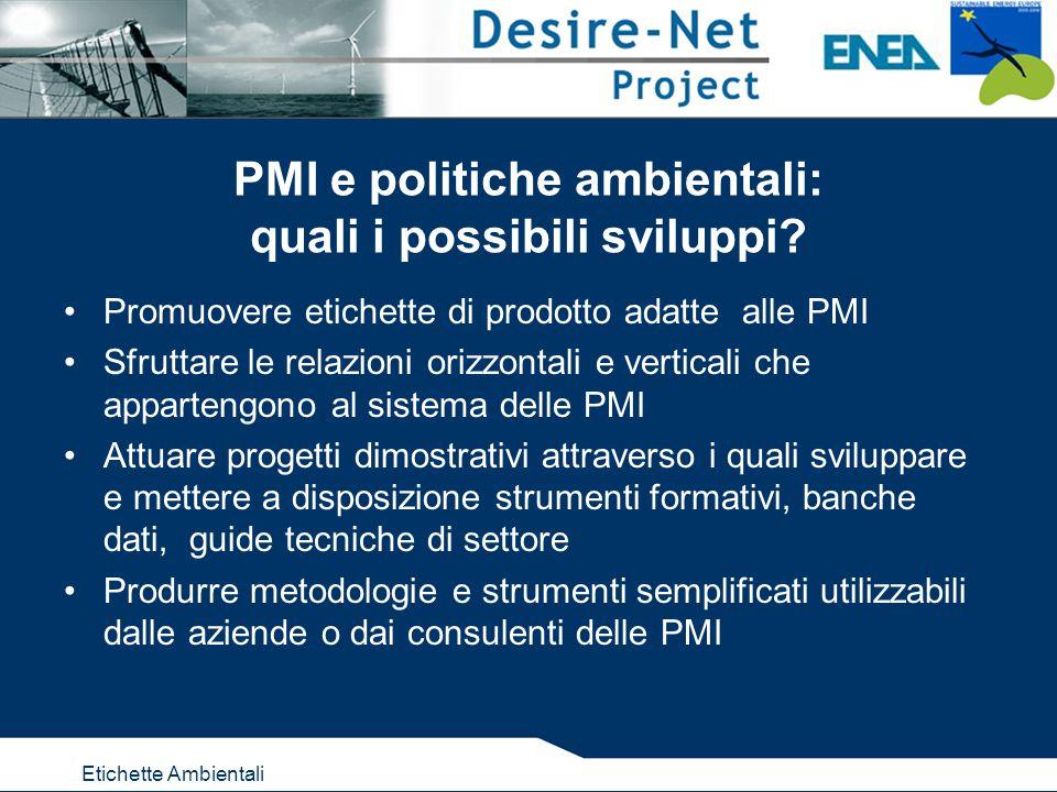Etichette Ambientali PMI e politiche ambientali: quali i possibili sviluppi.