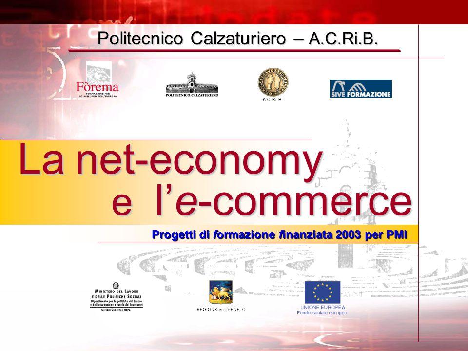 Politecnico Calzaturiero – A.C.Ri.B. REGIONE DEL VENETO La net-economy e l'e-commerce Progetti di formazione finanziata 2003 per PMI A.C.Ri.B.