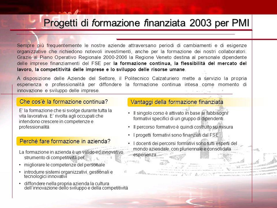 Progetti di formazione finanziata 2003 per PMI Sempre più frequentemente le nostre aziende attraversano periodi di cambiamenti e di esigenze organizzative che richiedono notevoli investimenti, anche per la formazione dei nostri collaboratori.
