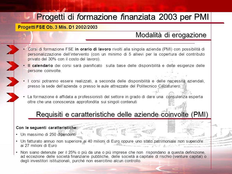 Progetti FSE Ob. 3 Mis. D1 2002/2003 Modalità di erogazione Corsi di formazione FSE in orario di lavoro rivolti alla singola azienda (PMI) con possibi