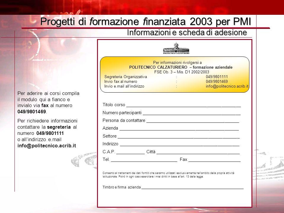 Per informazioni rivolgersi a POLITECNICO CALZATURIERO – formazione aziendale FSE Ob. 3 – Mis. D1 2002/2003 Segreteria Organizzativa : 049/9801111 Inv