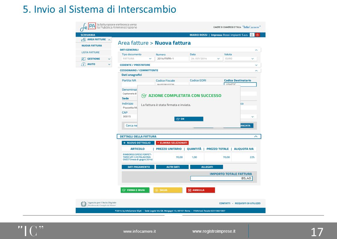 5. Invio al Sistema di Interscambio 17 www.infocamere.it www.registroimprese.it