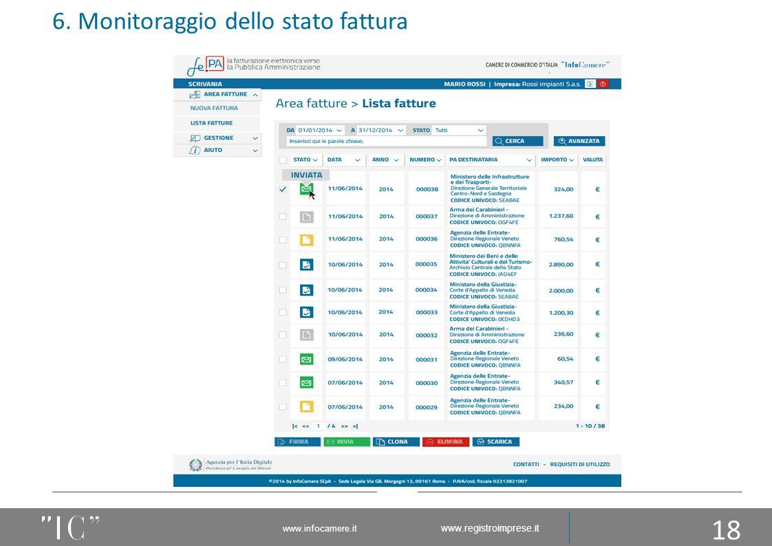 6. Monitoraggio dello stato fattura 18 www.infocamere.it www.registroimprese.it