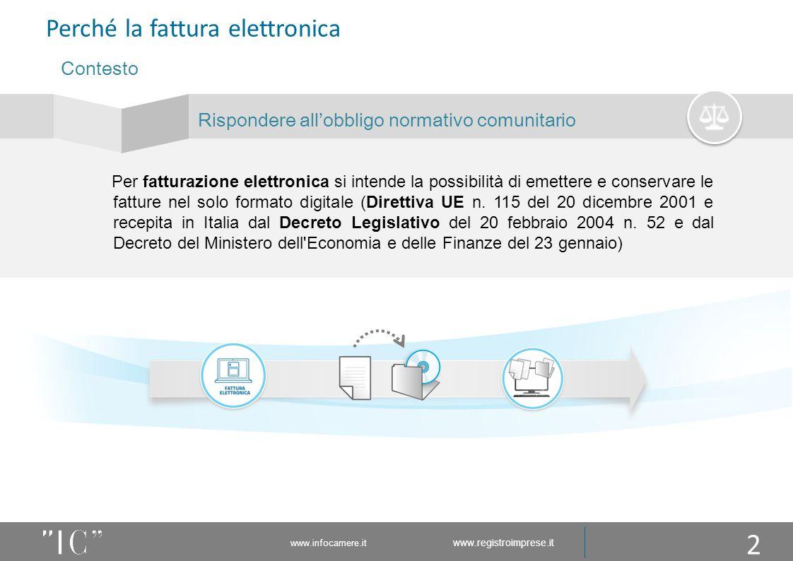 www.infocamere.it www.registroimprese.it Perché la fattura elettronica Per fatturazione elettronica si intende la possibilità di emettere e conservare