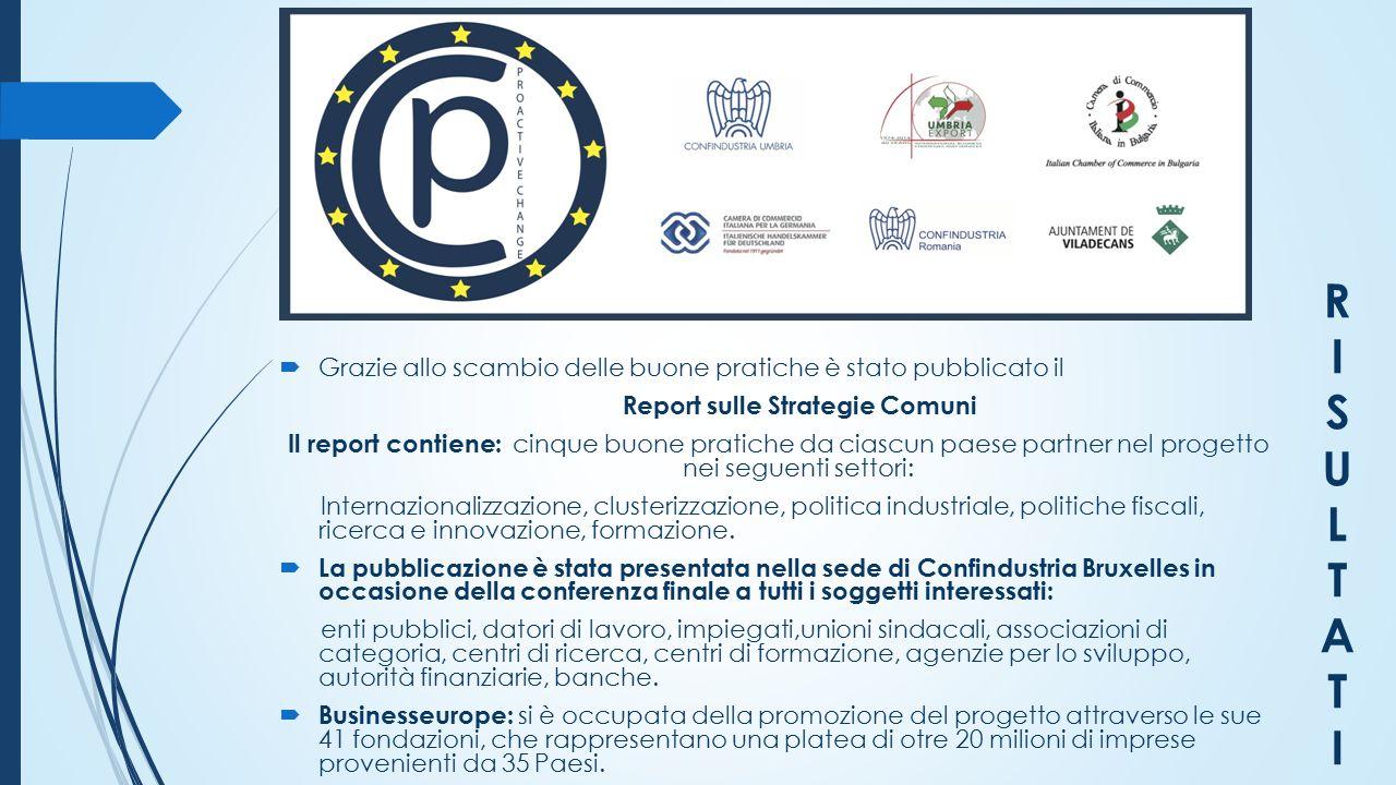 RISULTATIRISULTATI  Grazie allo scambio delle buone pratiche è stato pubblicato il Report sulle Strategie Comuni Il report contiene: cinque buone pra