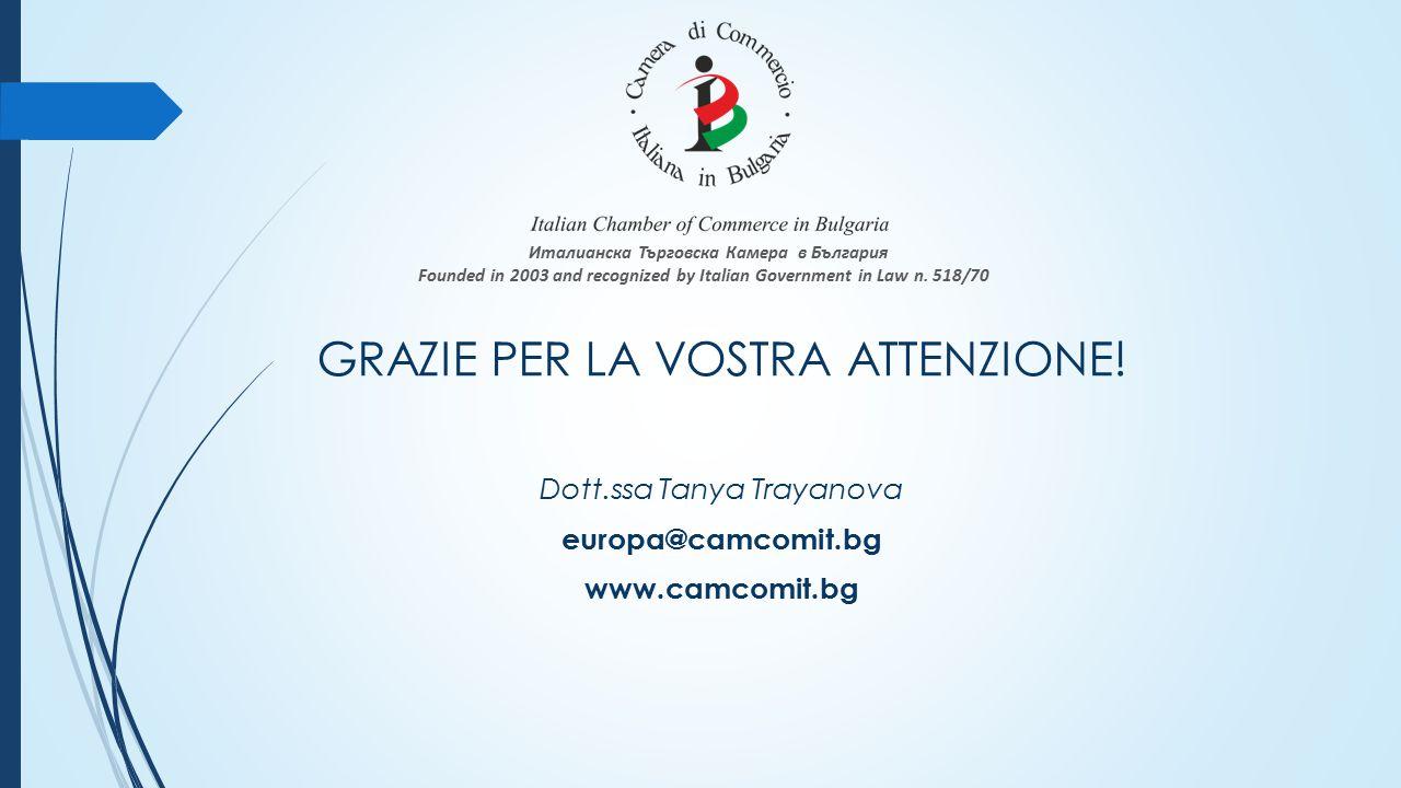 GRAZIE PER LA VOSTRA ATTENZIONE! Dott.ssa Tanya Trayanova europa@camcomit.bg www.camcomit.bg Италианска Търговска Камера в България Founded in 2003 an