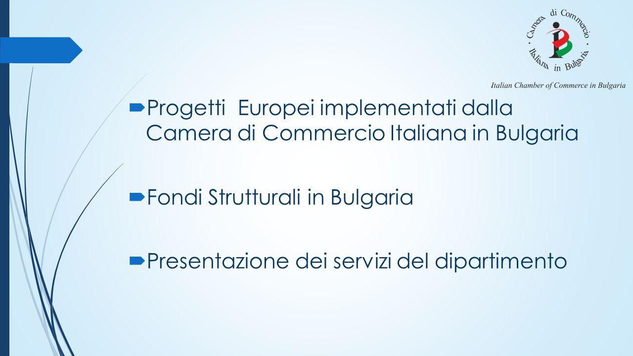  Progetti Europei implementati dalla Camera di Commercio Italiana in Bulgaria  Fondi Strutturali in Bulgaria  Presentazione dei servizi del diparti