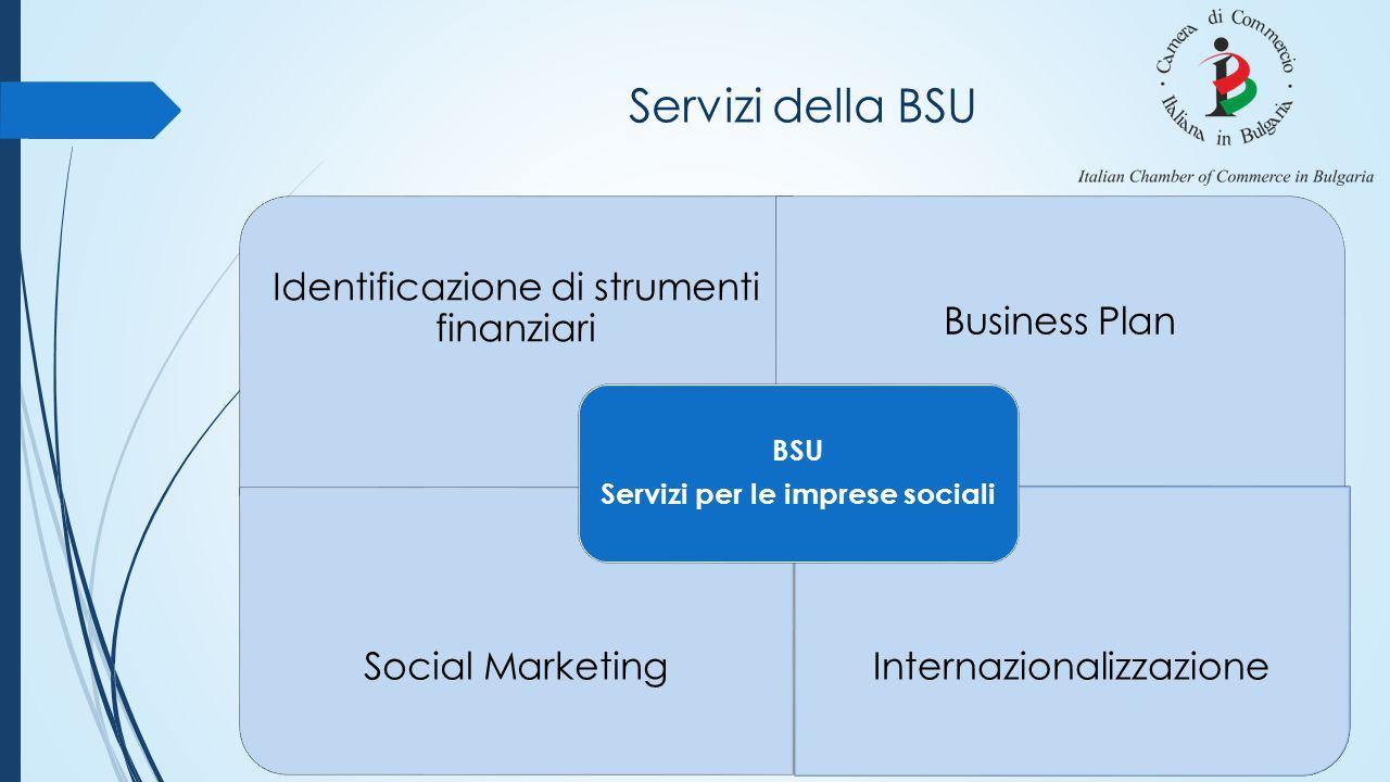 Servizi della BSU Identificazione di strumenti finanziari Business Plan Social MarketingInternazionalizzazione BSU Servizi per le imprese sociali