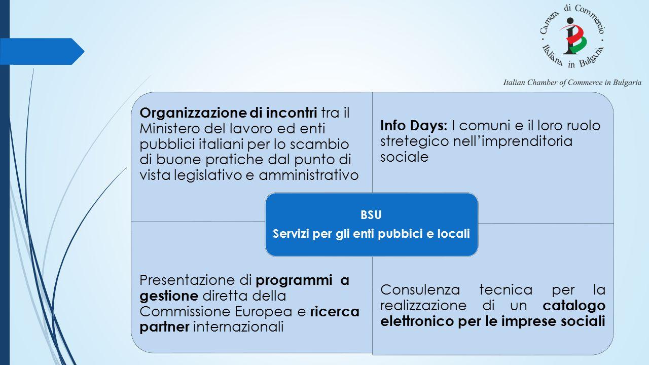 Organizzazione di incontri tra il Ministero del lavoro ed enti pubblici italiani per lo scambio di buone pratiche dal punto di vista legislativo e amm