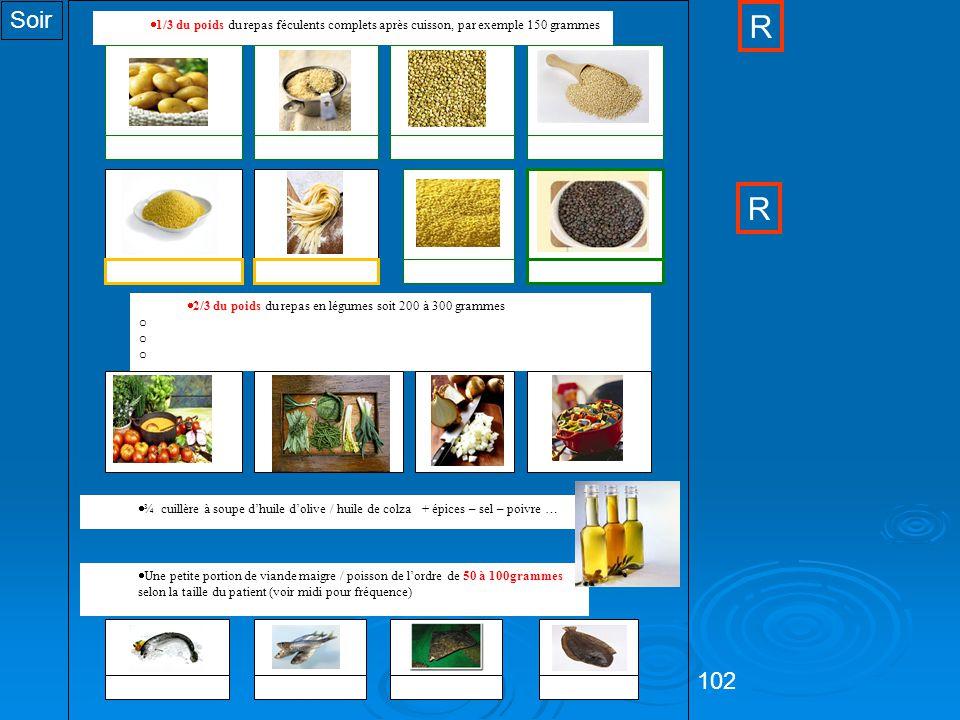 102  1/3 du poids du repas féculents complets après cuisson, par exemple 150 grammes  2/3 du poids du repas en légumes soit 200 à 300 grammes o Potage (100 ml = 30 grammes de légumes environ) o Légumes crus o Légumes cuits  ¾ cuillère à soupe d'huile d'olive / huile de colza + épices – sel – poivre …  Une petite portion de viande maigre / poisson de l'ordre de 50 à 100grammes selon la taille du patient (voir midi pour fréquence) Pomme de terreRizQuinoa Millet Sarrasin SaumonSardineFlétanSole CouscousPâtesLentilles Soir R R