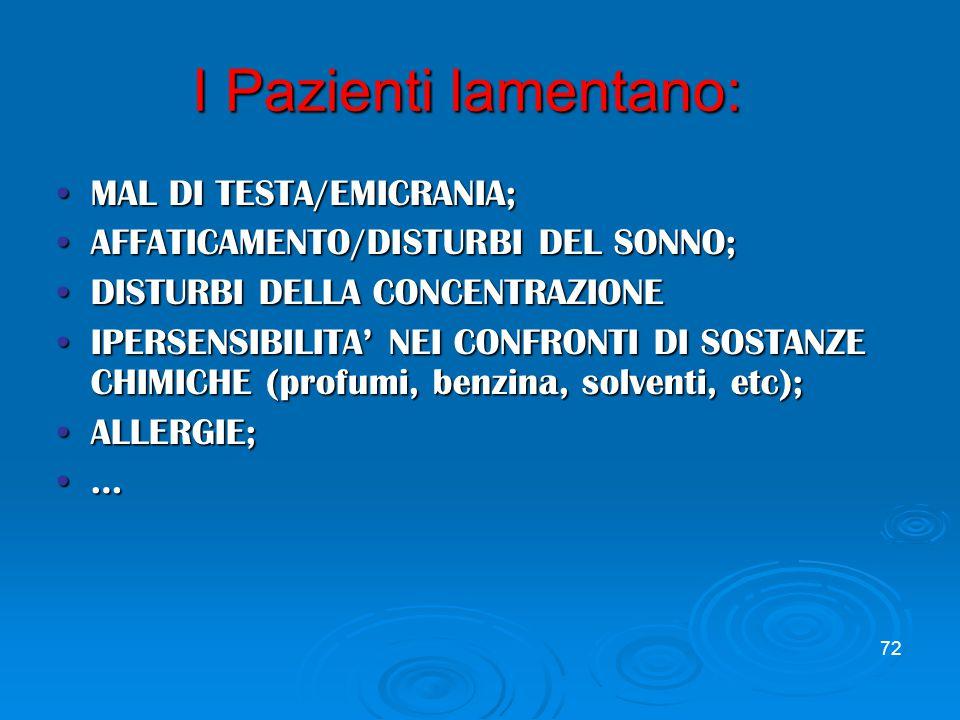 72 I Pazienti lamentano: MAL DI TESTA/EMICRANIA;MAL DI TESTA/EMICRANIA; AFFATICAMENTO/DISTURBI DEL SONNO;AFFATICAMENTO/DISTURBI DEL SONNO; DISTURBI DELLA CONCENTRAZIONEDISTURBI DELLA CONCENTRAZIONE IPERSENSIBILITA' NEI CONFRONTI DI SOSTANZE CHIMICHE (profumi, benzina, solventi, etc);IPERSENSIBILITA' NEI CONFRONTI DI SOSTANZE CHIMICHE (profumi, benzina, solventi, etc); ALLERGIE;ALLERGIE; …