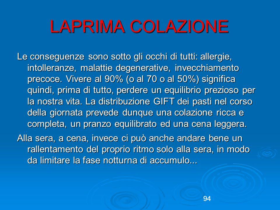 94 LAPRIMA COLAZIONE Le conseguenze sono sotto gli occhi di tutti: allergie, intolleranze, malattie degenerative, invecchiamento precoce.