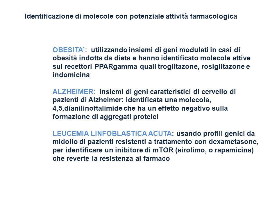 Identificazione di molecole con potenziale attività farmacologica OBESITA': utilizzando insiemi di geni modulati in casi di obesità indotta da dieta e
