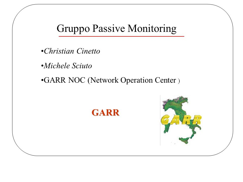 Applicazioni CCR 2003 Paestum 12/06/2003 Christian Cinetto Applicazioni(1) Accounting / Billing Planning & Analisys Monitoring / Security Network Activity