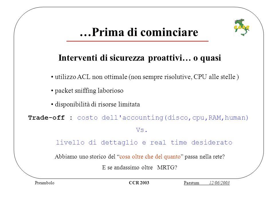 Preambolo CCR 2003 Paestum 12/06/2003 …Prima di cominciare Abbiamo uno storico del cosa oltre che del quanto passa nella rete.