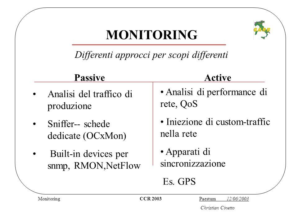 NetFlow CCR 2003 Paestum 12/06/2003 Christian Cinetto NetFlow Feature IOS CISCO dalla 11.* (1996) Standard de facto Memorizza i flussi in una cache e permette l'export verso un collector Diversi software che permettono l'analisi (sia open-source che commerciali)