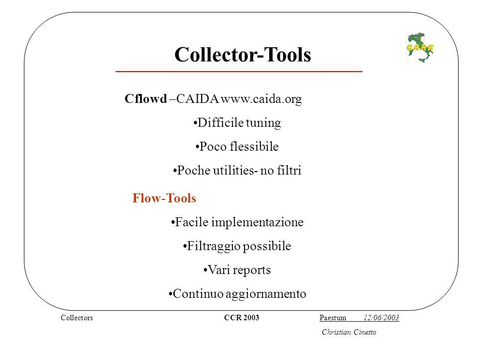 cattura CCR 2003 Paestum 12/06/2003 flow-capture -z4 -V5 -n288 -w/home/netfow/Statistiche/Milano-RC -E5G -S5 193.204.x.x/193.206.129.x/8700 -rw-r-r- 1 root root 100 Jan 8 17:16 ft-v05.2003-01-08.171125+0100 -rw-r-r- 1 root root 100 Jan 8 17:21 ft-v05.2003-01-08.171624+0100 -rw-r-r- 1 root root 100 Jan 8 17:26 ft-v05.2003-01-08.172123+0100 -rw-r-r- 1 root root 100 Jan 8 17:31 ft-v05.2003-01-08.172622+0100 -rw-r-r- 1 root root 92 Jan 8 17:31 tmp-v05.2003-01-08.173121+0100 flow-capture In / home/netfow/Statistiche/Milano-RC/ 2003/2003-01/2003-01- 08/ otteniamo