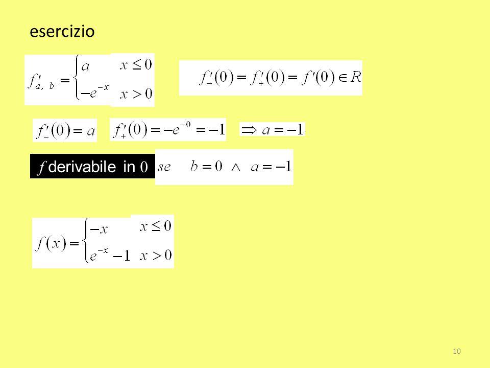 esercizio f derivabile in 0 10