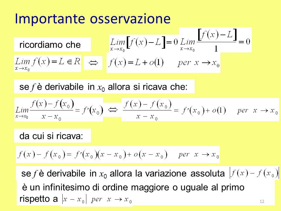 Importante osservazione se f è derivabile in x 0 allora si ricava che: ricordiamo che da cui si ricava: se f è derivabile in x 0 allora la variazione