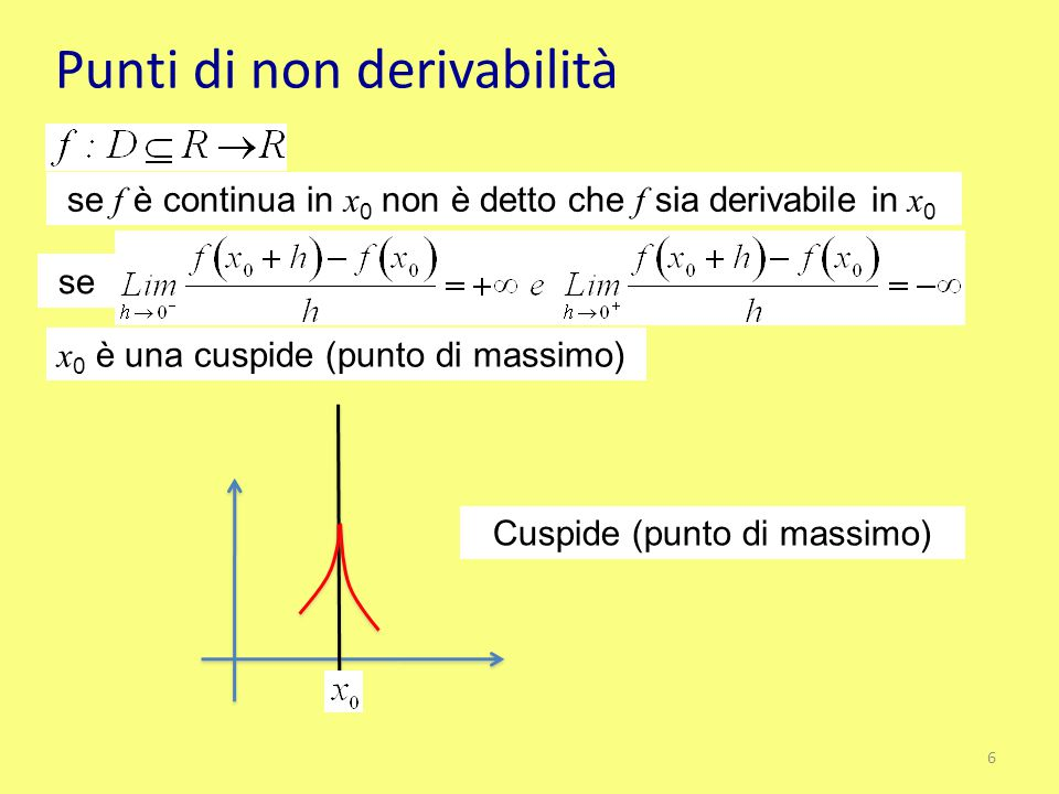 Punti di non derivabilità se f è continua in x 0 non è detto che f sia derivabile in x 0 se x 0 è una cuspide (punto di massimo) Cuspide (punto di mas