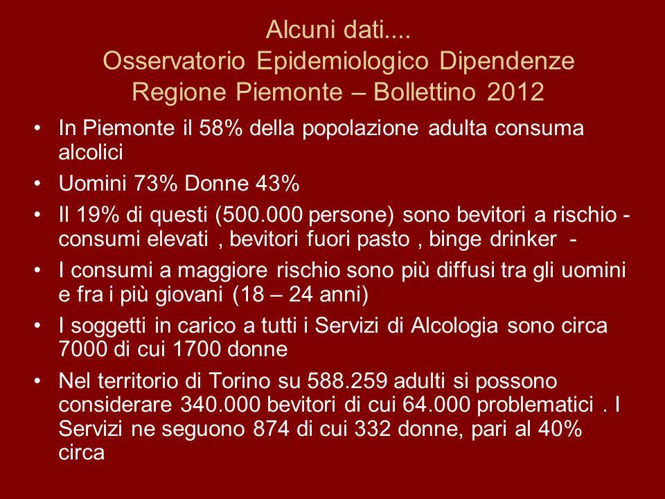Alcuni dati.... Osservatorio Epidemiologico Dipendenze Regione Piemonte – Bollettino 2012 In Piemonte il 58% della popolazione adulta consuma alcolici