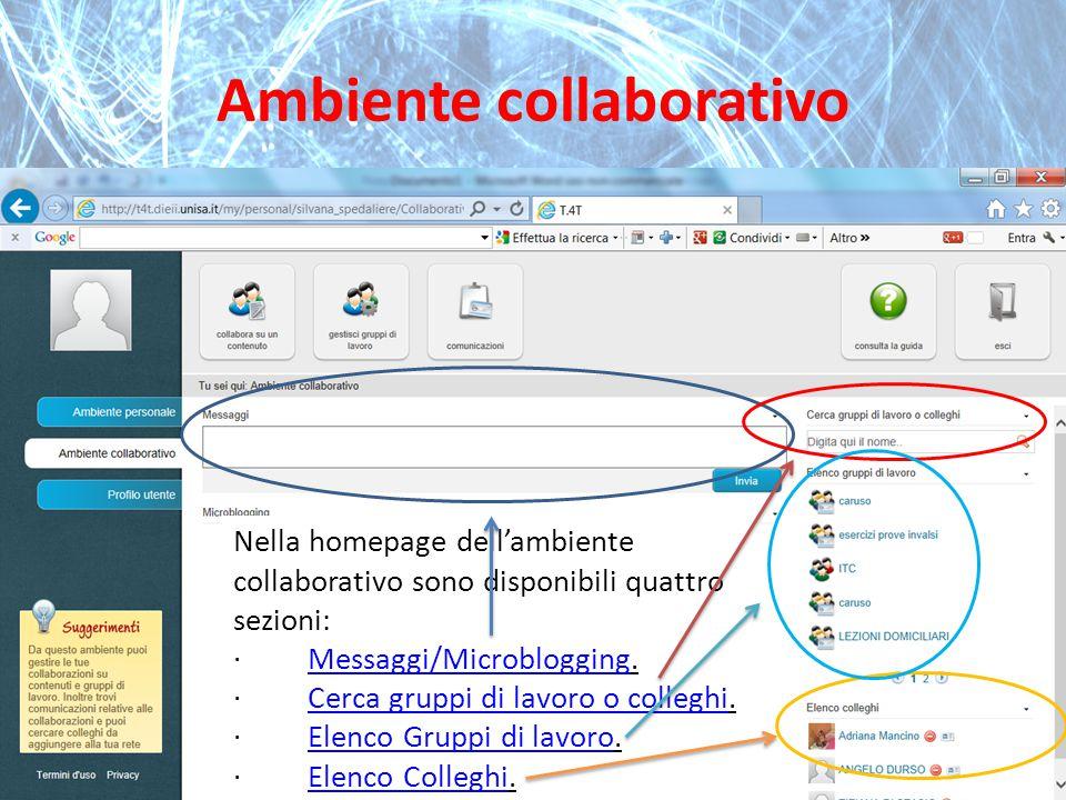 Ambiente collaborativo Nella homepage dell'ambiente collaborativo sono disponibili quattro sezioni: · Messaggi/Microblogging.Messaggi/Microblogging · Cerca gruppi di lavoro o colleghi.Cerca gruppi di lavoro o colleghi · Elenco Gruppi di lavoro.Elenco Gruppi di lavoro · Elenco Colleghi.Elenco Colleghi