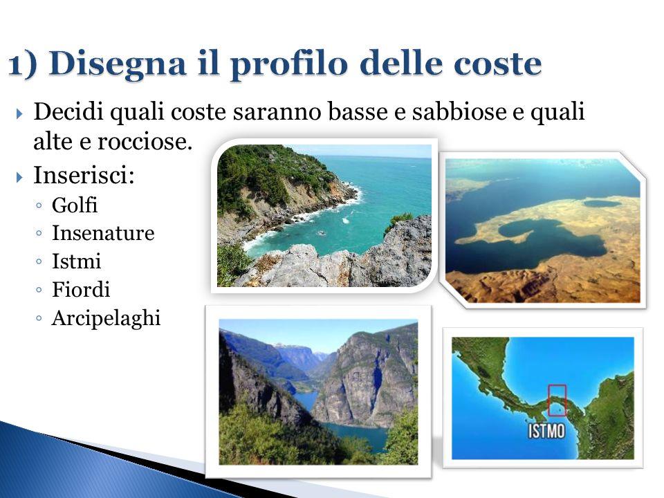 1) Disegna il profilo delle coste  Decidi quali coste saranno basse e sabbiose e quali alte e rocciose.