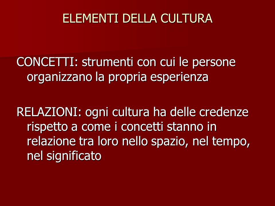 ELEMENTI DELLA CULTURA CONCETTI: strumenti con cui le persone organizzano la propria esperienza RELAZIONI: ogni cultura ha delle credenze rispetto a c