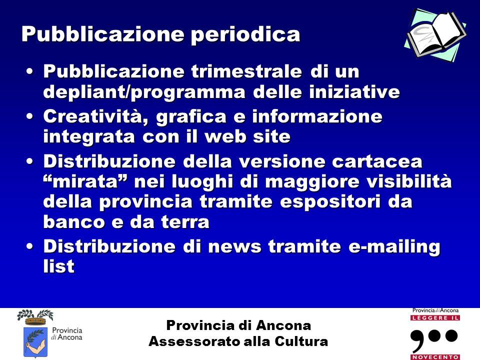 Provincia di Ancona Assessorato alla Cultura Pubblicazione periodica Pubblicazione trimestrale di un depliant/programma delle iniziativePubblicazione