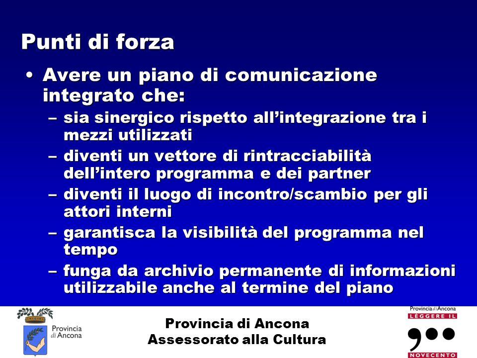 Provincia di Ancona Assessorato alla Cultura Punti di forza Avere un piano di comunicazione integrato che:Avere un piano di comunicazione integrato ch